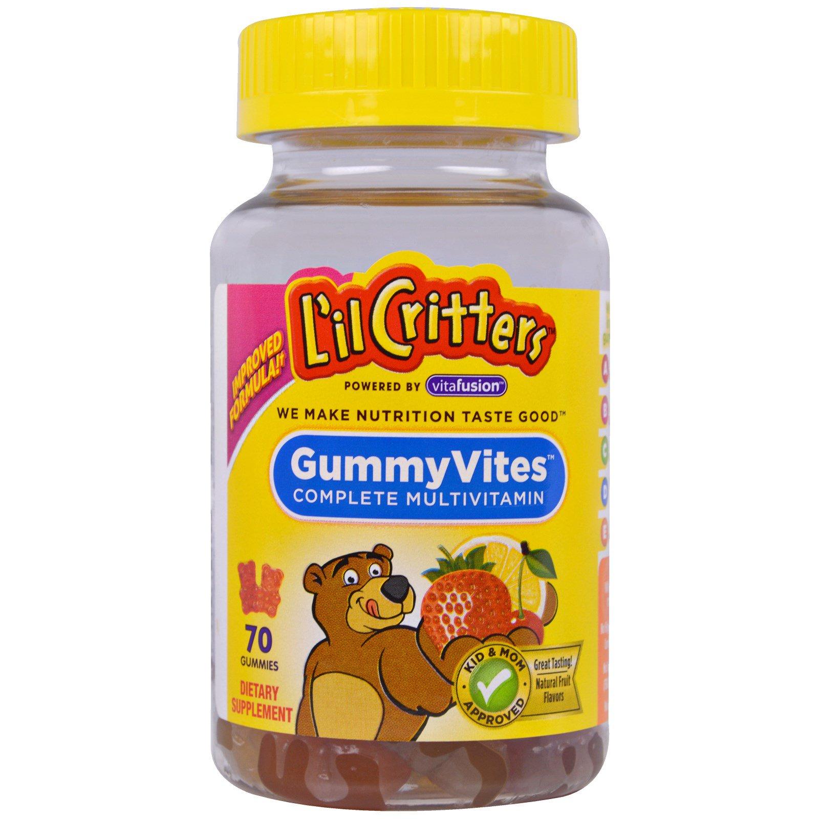 �y�f�.�:(�9il�f�x�_l\'il critters, 维他软糖,完全复合维生素,天然水果口味,70颗软糖