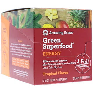 Amazing Grass, Green Superfood, Effervescent Greens Energy, Tropical Flavor, 6 tubes, 10 Tablets Each