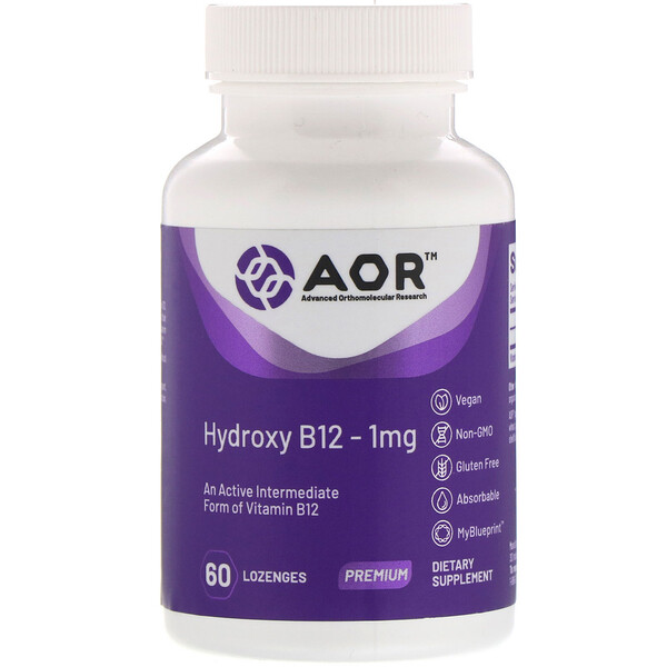 Advanced Orthomolecular Research AOR, 羟基 B12,1 毫克,60 片含片