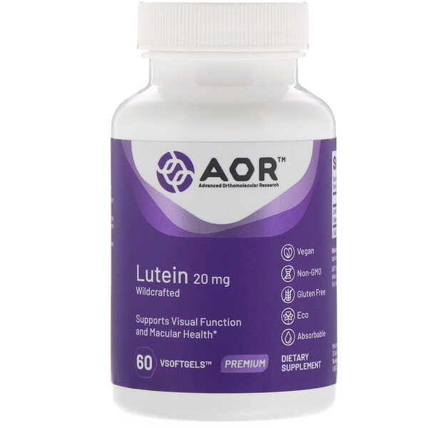Advanced Orthomolecular Research AOR, Lutein, 20 mg, 60 VSoftgels (Discontinued Item)