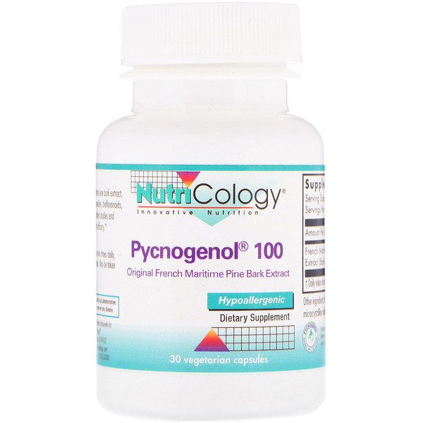 Nutricology, Pycnogenol 100 Original French Maritime Pine Bark Extract. 30 Vegetarian Capsules (Discontinued Item)