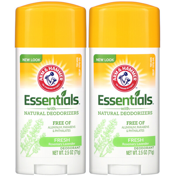Essentials with Natural Deodorizers, Deodorant, Fresh Rosemary Lavender, Twin Pack, 2.5 oz (71 g) Each