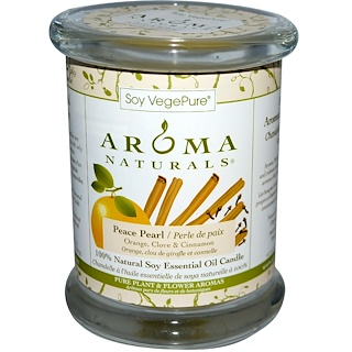 Aroma Naturals, 100% Natural Soy Essential Oil Candle, Peace Pearl, Orange, Clove & Cinnamon, 8.8 oz (260 g)