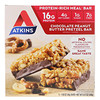 Atkins, Advantage, Chocolate Peanut Butter Pretzel, Meal Bars, 5 pack