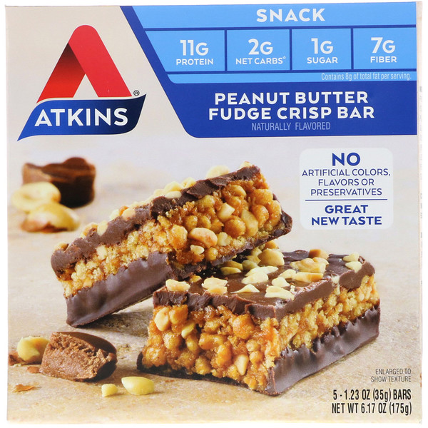 Atkins, Snack, Peanut Butter Fudge Crisp Bar, 5 Bars, 1.2 oz (35 g) Each