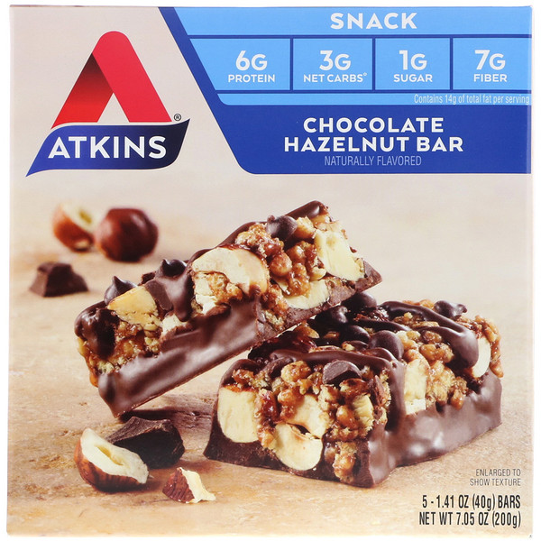 Atkins, Chocolate Hazelnut Bar, 5 Bars, 1.41 oz (40 g) Each (Discontinued Item)