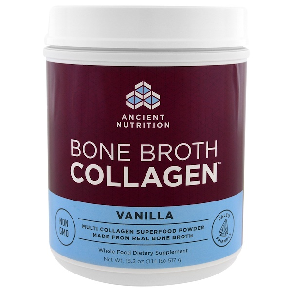 Dr. Axe / Ancient Nutrition, Bone Broth Collagen,香草味,18.2盎司(517克)