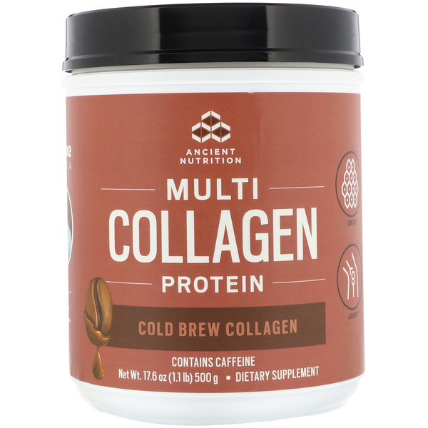 Dr. Axe / Ancient Nutrition, Multi Collagen Protein, Cold Brew Collagen, 17.6 oz (500 g)