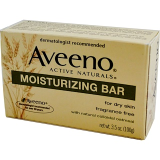 Aveeno, Active Naturals, Moisturizing Bar, Fragrance-Free, 3.5oz