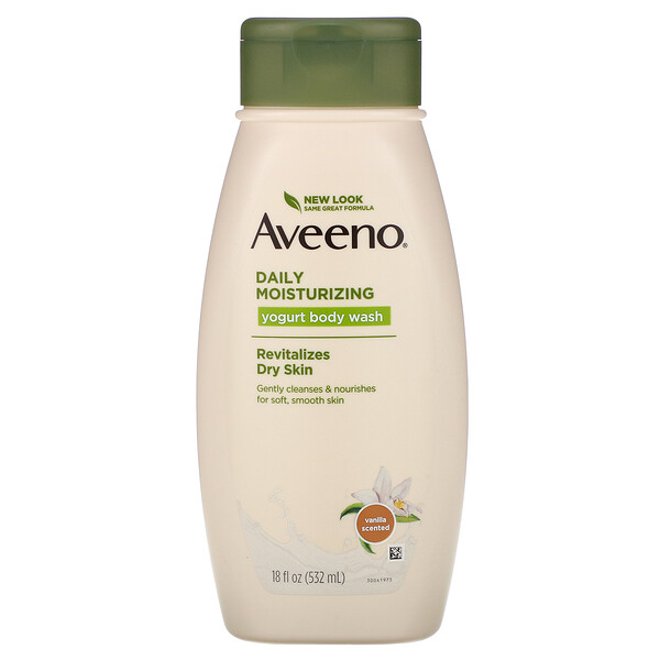 Aveeno, Daily Moisturizing Yogurt Body Wash, Vanilla, 18 fl oz (532 ml)