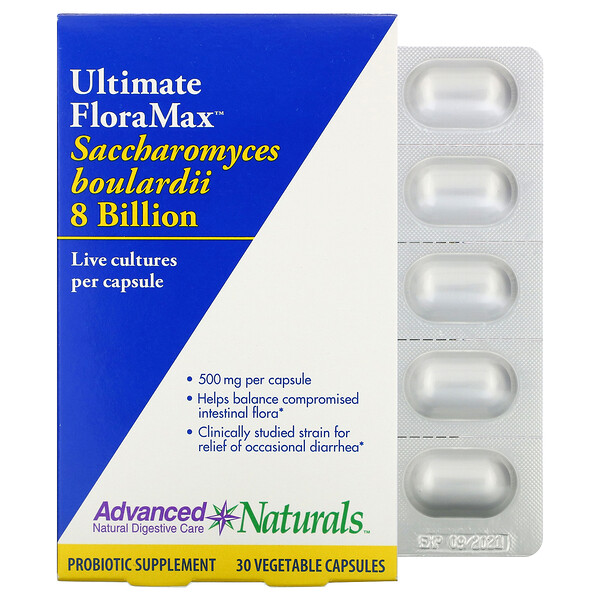 Advanced Naturals, Ultimate FloraMax™ 布拉酵母菌素食胶囊,80 亿 CFU,30 粒装
