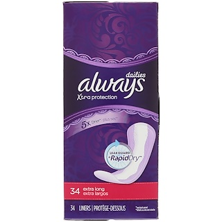 Always, Xtra Protection Dailies, Extra Long, Unscented, 34 Liners
