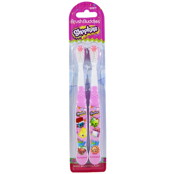 Brush Buddies, Shopkins牙刷,软,2牙刷