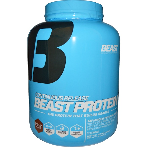 Beast Sports Nutrition, Beast Protein, Continuous Release, 4 lbs (1814 g) (Discontinued Item)