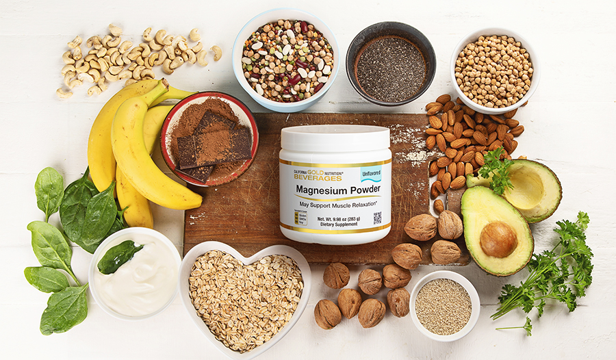 Food sources of magnesium: nuts, seeds, leafy greens, supplements