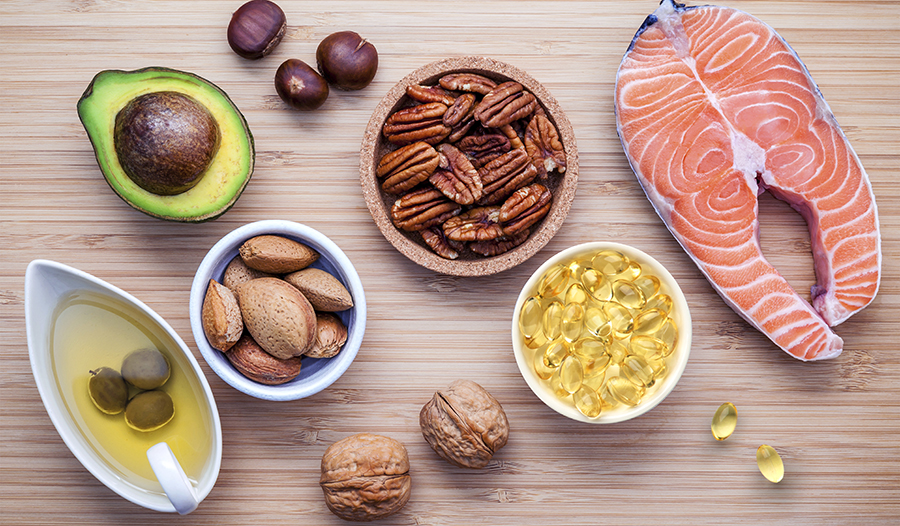 Food sources of vitamin E: nuts, avocado, oil, salmon, supplements