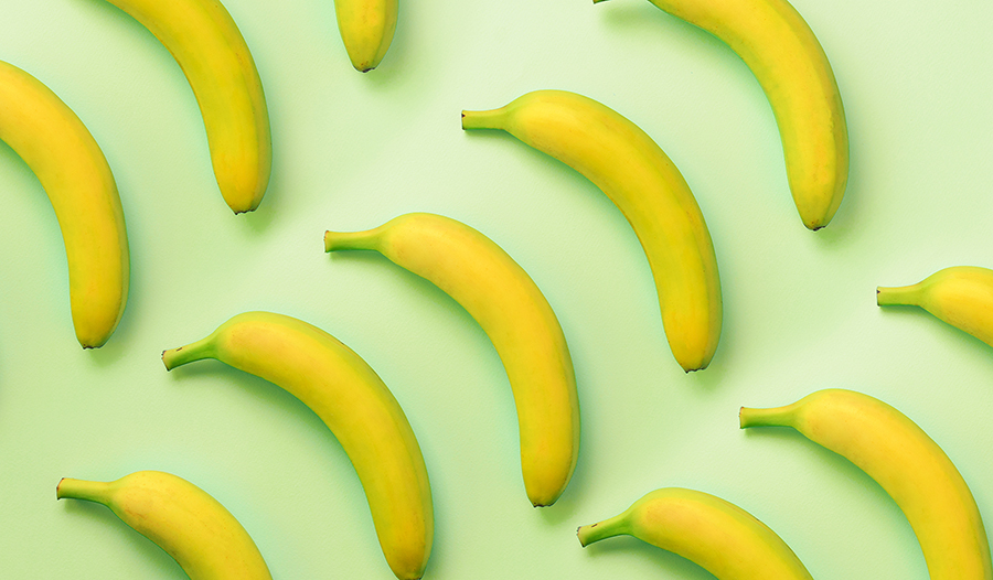 Bananas on a green background