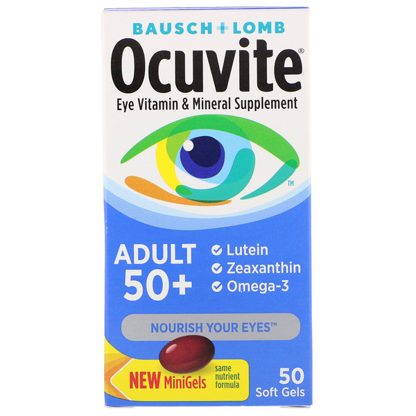 Ocuvite, Adult 50 +, Eye Vitamin & Mineral Supplement, 50 Soft Gels
