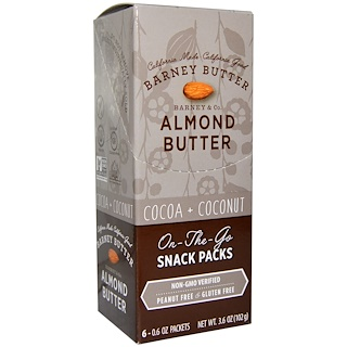 Barney Butter, Almond Butter, On the Go Snack Packs, Cocoa + Coconut, 6 Packets, 0.6 oz (17 g) Each