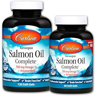 Carlson Labs, Norwegian Salmon Oil Complete, 120 Soft Gels + 60 Free Soft Gels