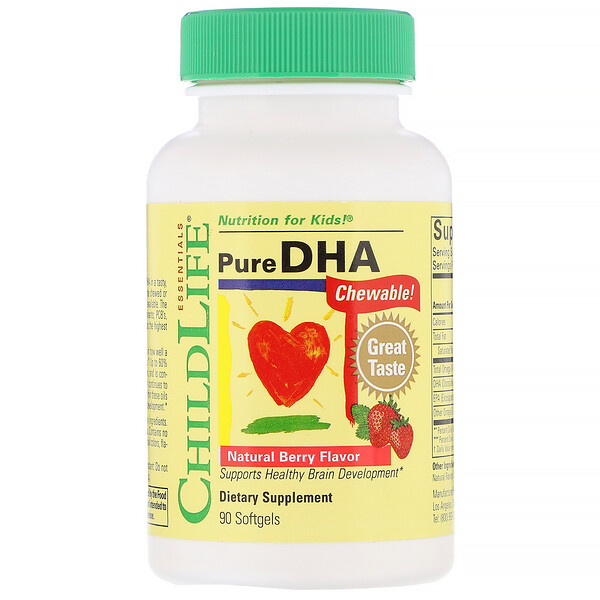 Pure DHA, Natural Berry Flavor, 90 Softgels