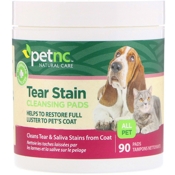 petnc NATURAL CARE, Tear Stain Cleansing Pads, For Cats & Dogs, 90 Pads (Discontinued Item)