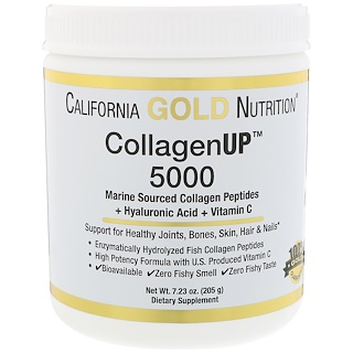California Gold Nutrition, CollagenUP™ 5000, Marine Sourced Collagen Peptides + Hyaluronic Acid + Vitamin C, 7.23 oz (205 g)