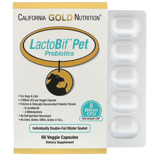 California Gold Nutrition, LactoBif宠物益生菌, 50亿 CFU, 60 植物胶囊
