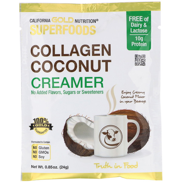 California Gold Nutrition, Superfoods, Collagen Coconut Creamer, 12 Individually Sealed, 0.85 oz (24 g)