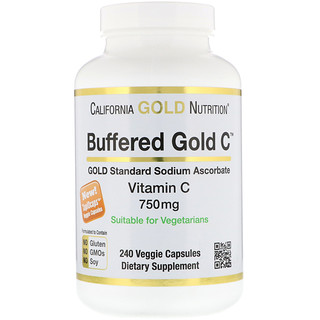 California Gold Nutrition, Buffered Gold C, Non-Acidic Vitamin C, 750 mg, 240 蔬菜软胶