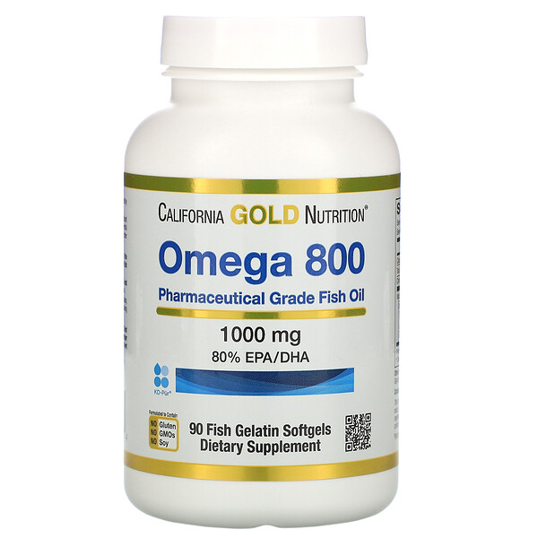 Omega 800 Pharmaceutical Grade Fish Oil, 80% EPA/DHA, Triglyceride Form, 1000 mg, 90 Fish Gelatin Softgels