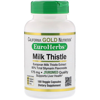California Gold Nutrition, Milk Thistle Extract, 80% Silymarin, EuroHerbs, Clinical Strength, 180 Veggie Capsules