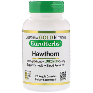 California Gold Nutrition, Hawthorn Extract, EuroHerbs, European Quality, 300 mg, 180 Veggie Capsules