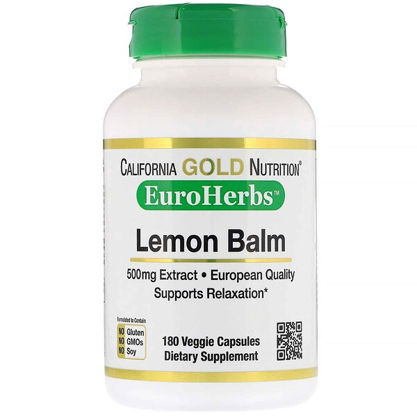 California Gold Nutrition, EuroHerbs, Lemon Balm, 500 mg, 180 Veggie Capsules