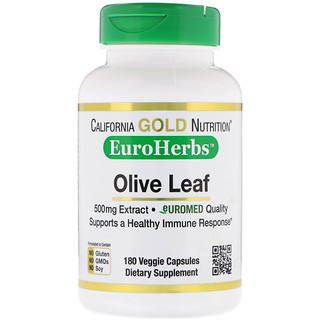 California Gold Nutrition, EuroHerbs, Olive Leaf Extract, 500 mg, 180 Veggie Capsules
