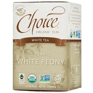 Choice Organic Teas, 有机,白牡丹,白茶,16 个茶包,每包 0.8 盎司(24 克)