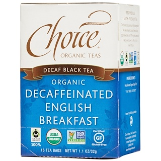 Choice Organic Teas, 有机无咖啡因英式早餐茶,16茶包,1.1盎司(32 克)