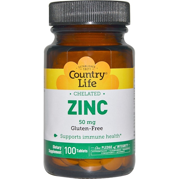 Country Life, Chelated Zinc, 50 mg, 100 Tablets