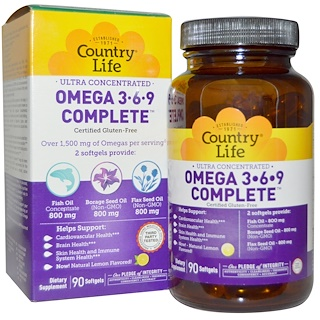Country Life, Omega 3·6·9, Ultra Concentrated, Lemon, 90 Softgels