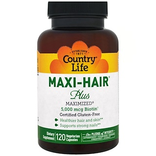 Country Life, Maxi Hair Plus, 5,000微克,120粒植物胶囊