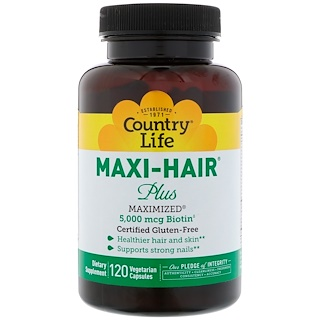Country Life, Maxi Hair Plus,120 粒净素胶囊