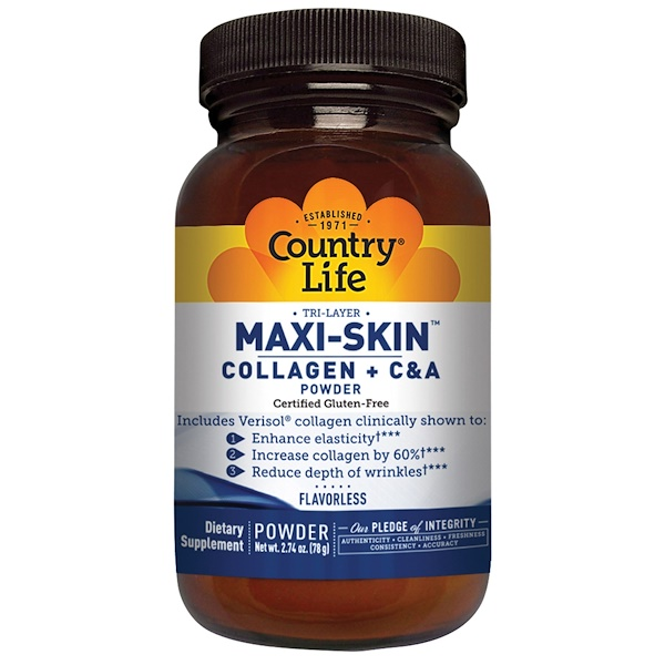 Country Life, Maxi-Skin Collagen + C & A Powder, 2.74 oz (78 g)