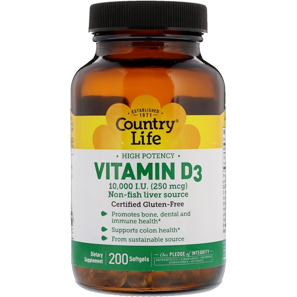 Vitamin D3, High Potency, 250 mcg (10,000 IU), 200 Softgels