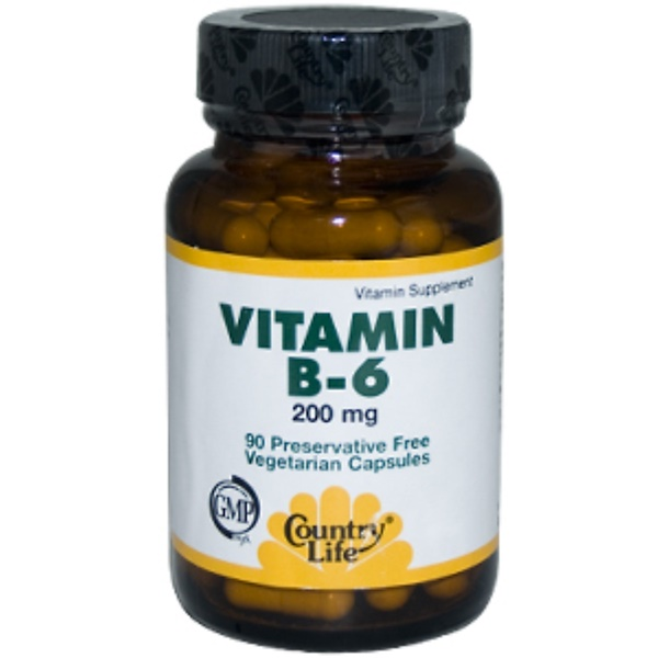 Country Life, Vitamin B-6, 200 mg, 90 Veggie Caps (Discontinued Item)