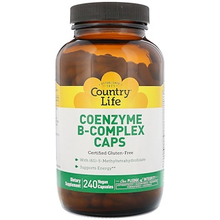 Country Life, Coenzyme B-Complex Caps,240素食胶囊