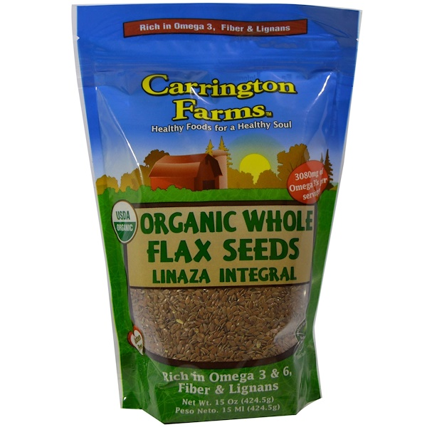 Carrington Farms, Organic Whole Flax Seeds, 15 oz (424.5 g) (Discontinued Item)