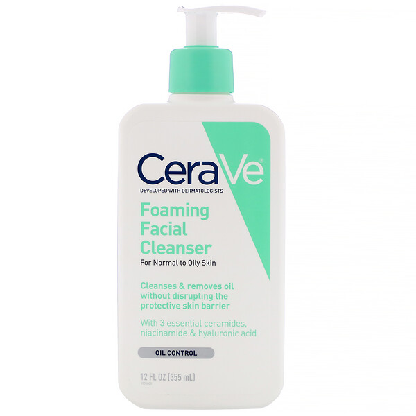 CeraVe, Foaming Facial Cleanser, For Normal to Oily Skin, 12 fl oz (355 ml)