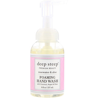 Deep Steep, Foaming Hand Wash, Rosewater & Aloe, 8 fl oz (237 ml)