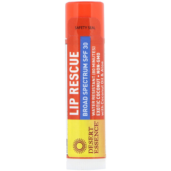 Desert Essence, Lip Rescue, Broad Spectrum SPF 30, Exotic Coconut, .15 oz (4.25 g)