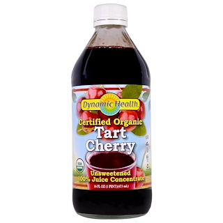 Dynamic Health  Laboratories, Certified Organic Tart Cherry, 100% Juice Concentrate, Unsweetened, 16 fl oz (473 ml)